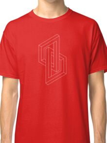 Modern minimal Line Art / Geometric Optical Illusion - Red Version  Classic T-Shirt
