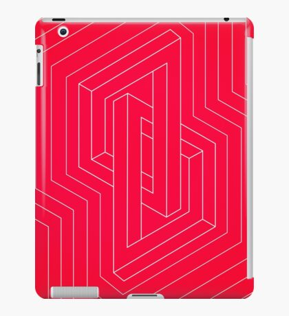 Modern minimal Line Art / Geometric Optical Illusion - Red Version  iPad Case/Skin