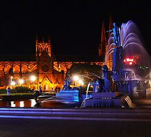 St Mary's Cathedral and the Archibald Fountain by Jennifer Bailey
