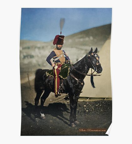 Hussar from the Crimean War - Colourised photo Poster
