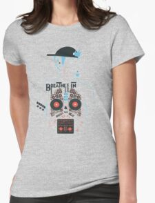 Breathe Music In. Womens Fitted T-Shirt