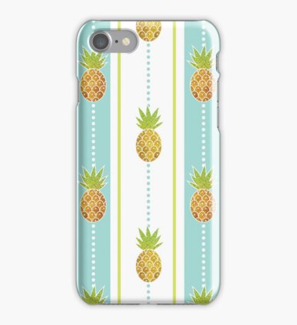 Glitter Tropical Pineapple with Stripes and Dots iPhone Case/Skin