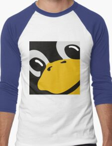 linux tux penguin eyes Men's Baseball ¾ T-Shirt