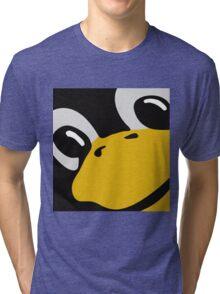 linux tux penguin eyes Tri-blend T-Shirt