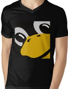 linux tux penguin eyes Mens V-Neck T-Shirt