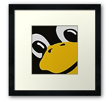 linux tux penguin eyes Framed Print