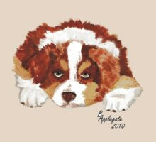 Australian Shepherd Puppy - Red Tri -T-shirt - Sticker by Barbara Applegate