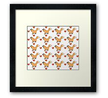 Cute Red Fox and Hearts Pattern Framed Print