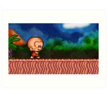 Bonk / BC Kid retro painted pixel art Art Print