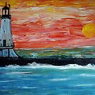 Lighthose at Sunset by Phil Cashdollar