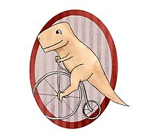 T-rex can ride a penny farthing Photographic Print