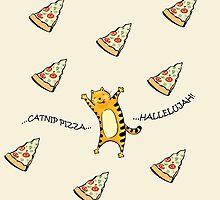Raining Pizza (Beige) by kirbeekatz