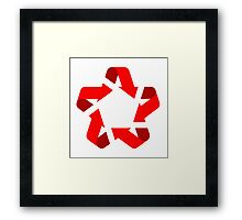 recycle red star Symbol of new communism era  Framed Print
