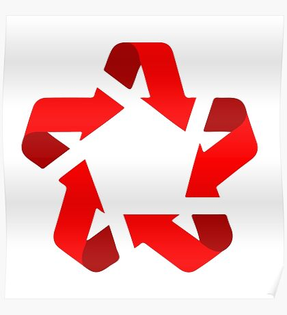 recycle red star Symbol of new communism era  Poster