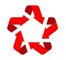 recycle red star Symbol of new communism era  Photographic Print