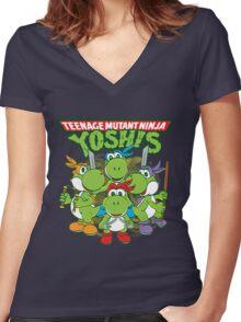Teenage Mutant Ninja Yoshis Women's Fitted V-Neck T-Shirt