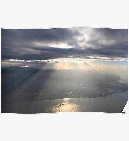 sun breaks the horizon over the peninsula Poster