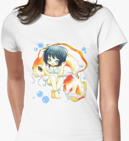 Swimming with Koi Womens Fitted T-Shirt