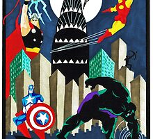 Art Deco Avengers by SammwahArt