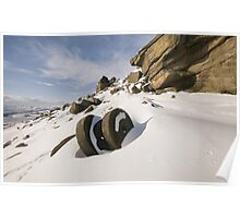 Stanage Millstones in the Snow Poster
