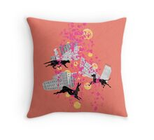weird city sunset Throw Pillow