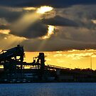 Sunset over Loading Facility - Newcastle Harbour NSW Australia by Phil Woodman