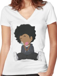 Lil' Goku Women's Fitted V-Neck T-Shirt
