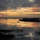 Beautiful sunset over lagoon by dcordeiro