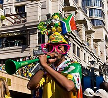 South African Soccer Fan Blows on Vuvuzela Horn by RatManDude