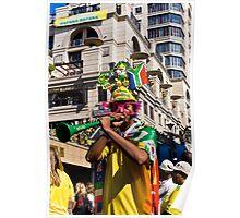 South African Soccer Fan Blows on Vuvuzela Horn Poster