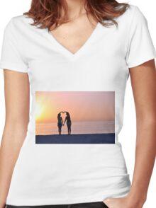 Heart Silhouette Women's Fitted V-Neck T-Shirt
