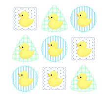 Rubber Duckies (White/Blue) Photographic Print