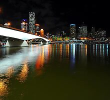Brisbane City & River By Night. Queensland, Australia. by Ralph de Zilva