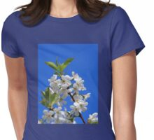 Pear Tree Blossoms Blue Sky Womens Fitted T-Shirt