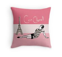 Coco Chanel in the 1920s Portrait in pinks Throw Pillow