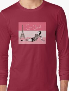 Coco Chanel in the 1920s Portrait in pinks Long Sleeve T-Shirt