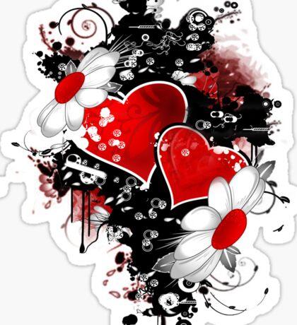 Fancy fashion hearts t-shirt Sticker