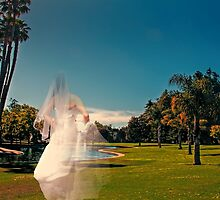 "Abeautiful ""ghost"" bride, in outdoors setting by happyphotos"