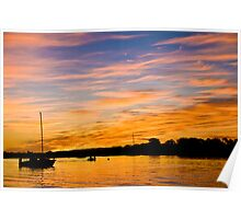 Catamaran on Noosa River at Sunset Poster
