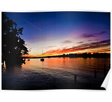 Yacht on Noosa River at sunset 9 Poster