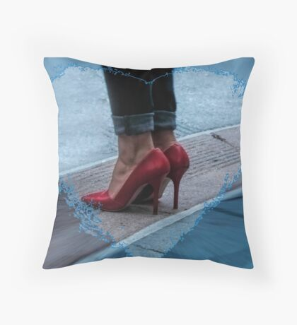 Red heels, and skinny jeans. Throw Pillow