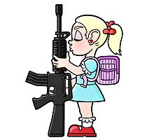 School girl with gun by Maxwell Waite