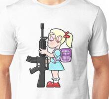 School girl with gun Unisex T-Shirt
