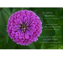 Purple Zinnia Flower with Marilyn Monroe quote Photographic Print