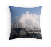 Fiddlers Ferry power Station on a frosty morning Throw Pillow