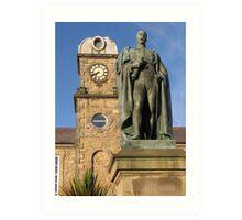 Statue & Clock Tower Art Print