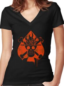 Ace - Spade Pirates Women's Fitted V-Neck T-Shirt