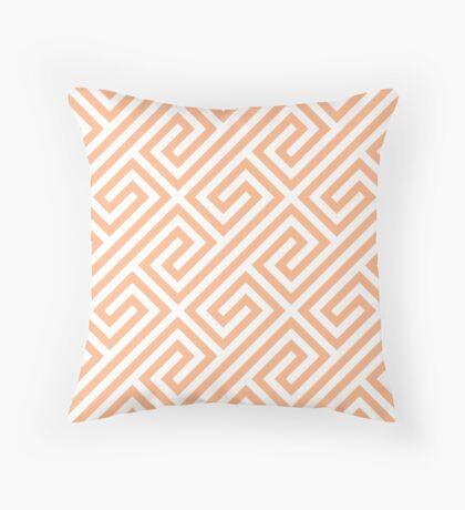 Peach Greek Keys Geometric Pattern Throw Pillow