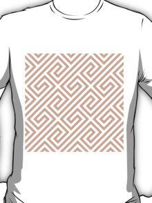 Peach Greek Keys Geometric Pattern T-Shirt