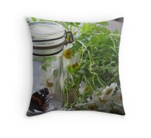 Summer Still Life with Feverfew Throw Pillow